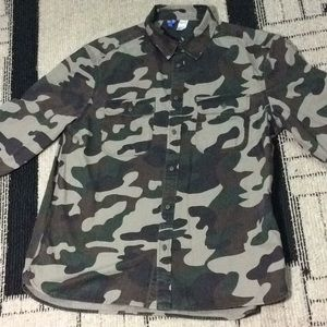 Men camouflage Button Top Long Sleeves